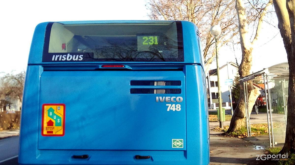 ulica platana, zagreb / zet, linija 231 / iveco irisbus 18m