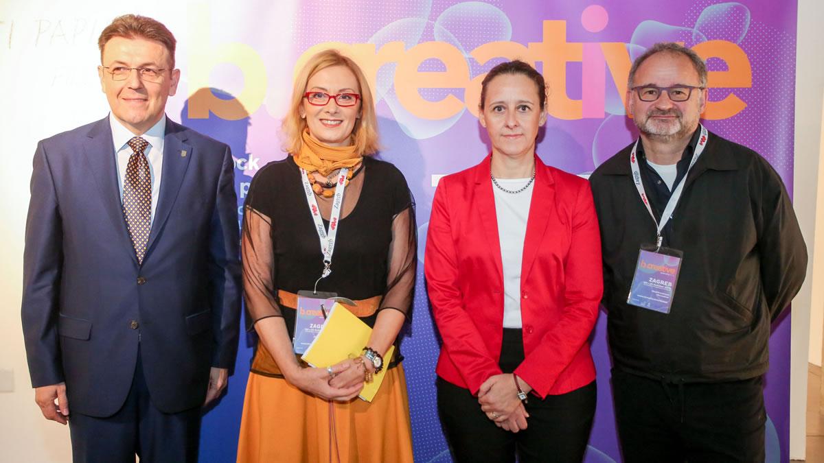 b.creative konferencija 2019 / Luka Burilović, Ivana Nikolić Popović; Nina Obuljen Koržinek i Philippe Kern
