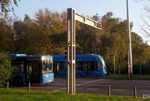 autobus i tramvaj ZET-a / avenija dubrovnik, zagreb / studeni 2014.